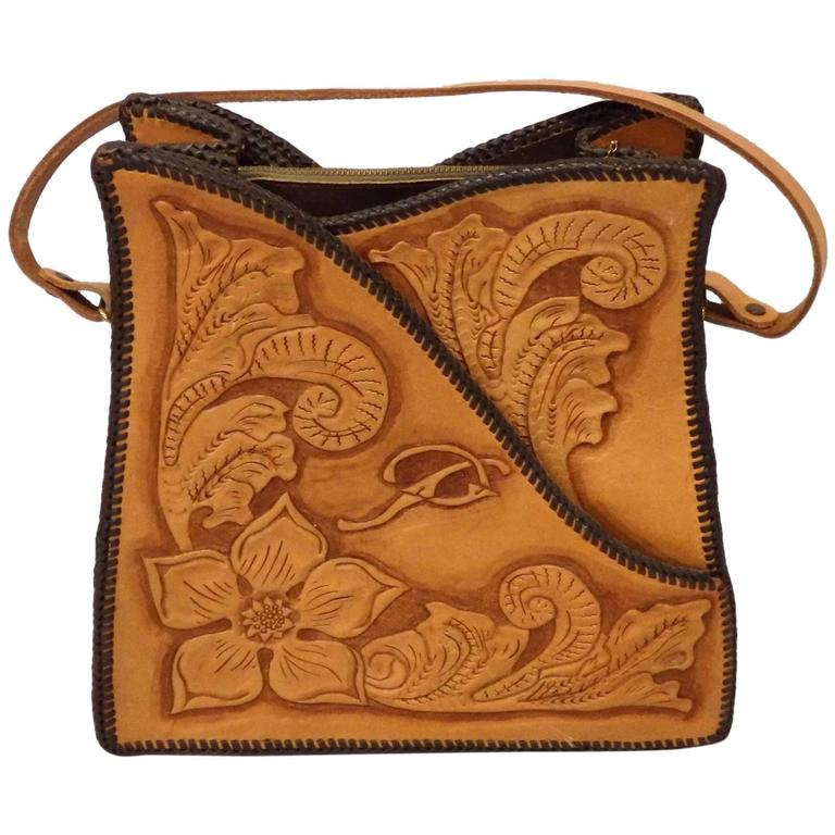 Western Theme Hand Tooled Leather Purse For