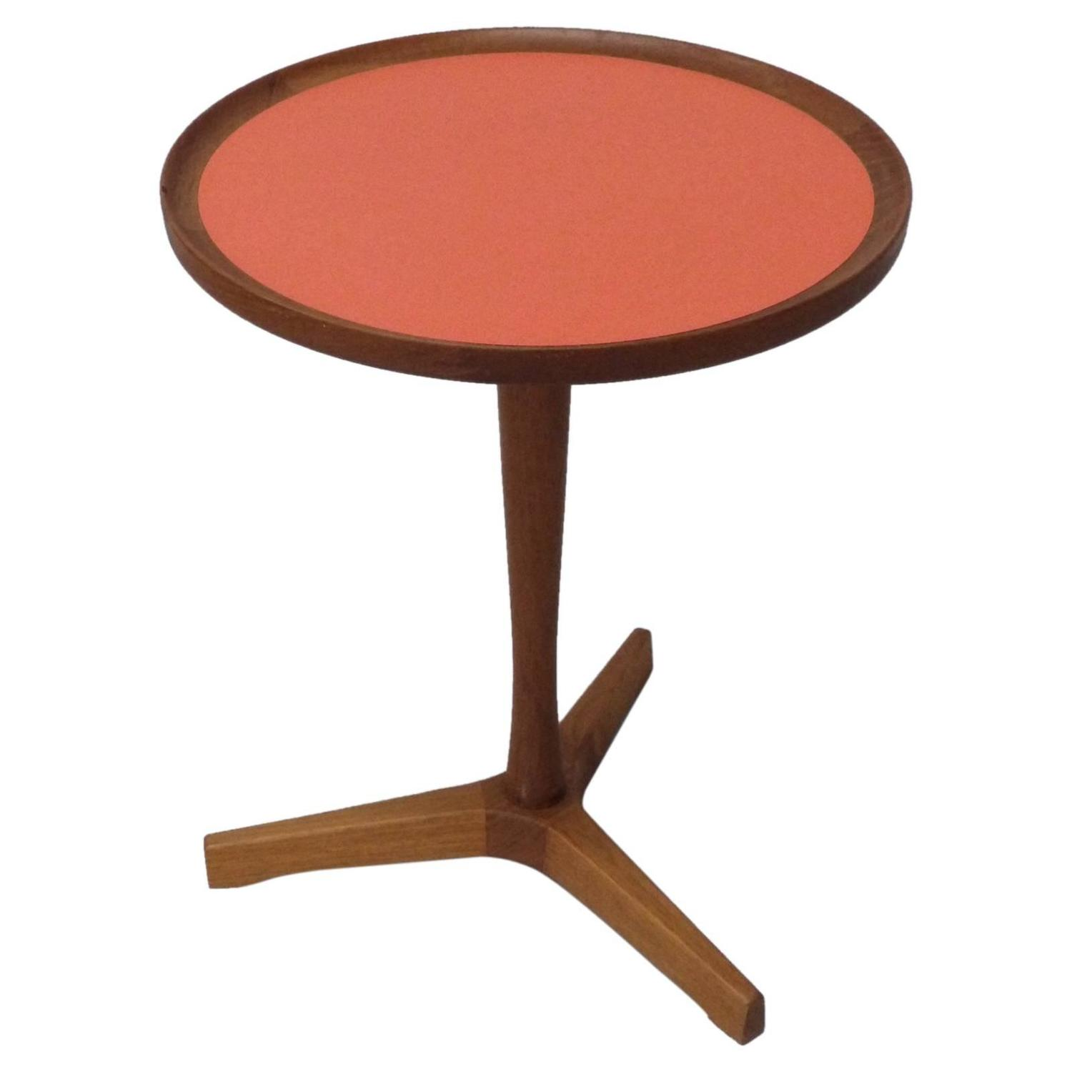 Hans Anderson Orange Inlay Teak Occasional Table For Sale at 1stdibs