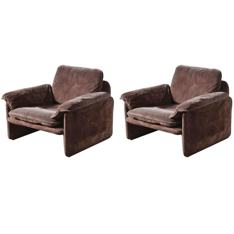 Pair of Brown Suede Seventies Lounge Chairs for Cassina