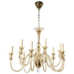 Murano Twelve-Light Amber Glass Chandelier