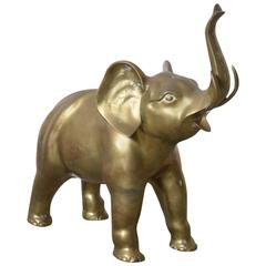 Vintage Brass Elephant Floor Sculpture