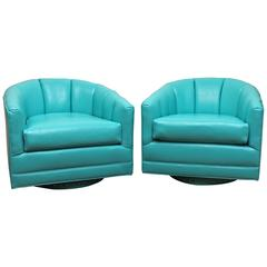 Pair Lounge Swivel Chairs