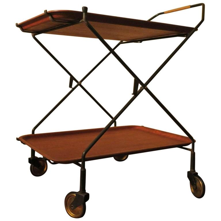 Midcentury Danish Teak and Metal Folding Serving Cart or Trolley, 1960s
