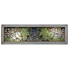 Antique Chunk Jeweled Tiffany LaFarge Style Window with Floral Urn Design
