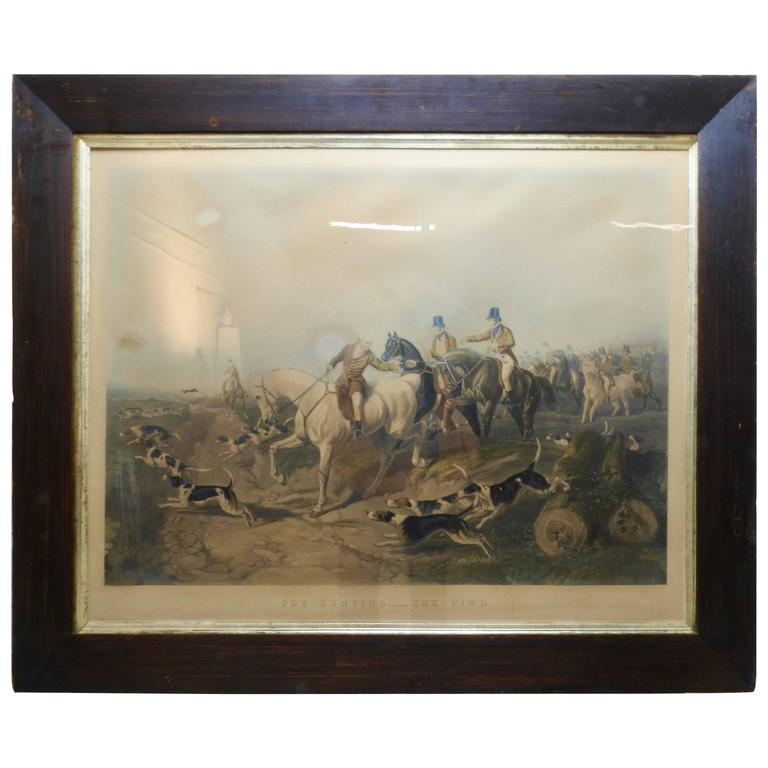 """Fox Hunting """"The Find"""" Lithograph by Artist J. R. Herring"""