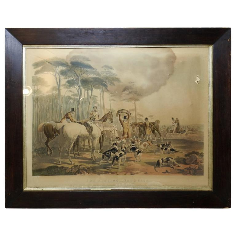 """Fox Hunting """"The Death"""" Lithograph by Artist J. F. Herring"""
