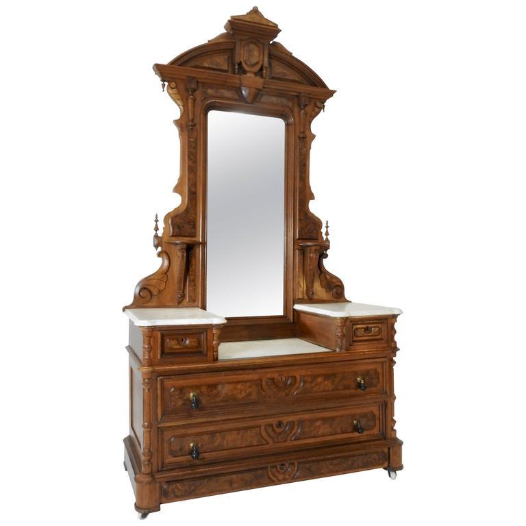 Victorian Gentleman's Dresser with Marble Tops For Sale