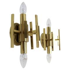 Sophisticated Pair of Brass Wall Lamps, France, 1970s