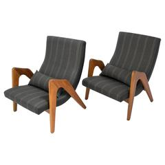 Pair of Mid-Century Lounge Arm Sling Chairs by Adrian Pearsall in New Upholstery