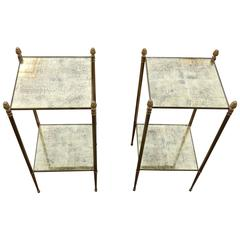 1950-1970 Pair of Stools in the Style of Maison Baguès, with Gold Leaf