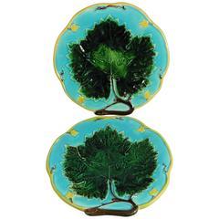 Pair of 19th Century Majolica Leaves Plates Joseph Holcroft