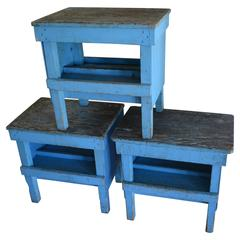 End Tables/Benches from Industrial Factory Work Tables 'Set of 3'