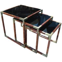 Three Elegant Italian Nesting Tables in Wood, Brass and Blue Mirror