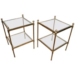 Pair of Italian 1960s Two-Tier End Tables in Brass