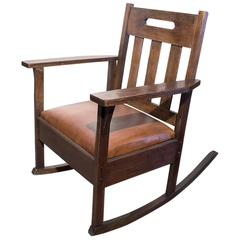 Stickley Style Rocking Chair with Brown Leather, circa 1925