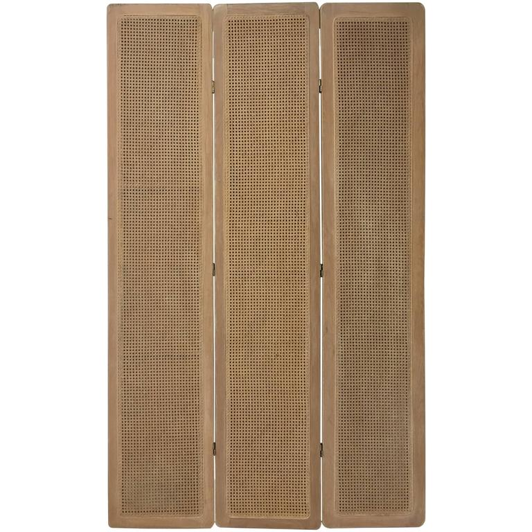 1950s Wood Cane Woven Large Three-Panel Screen