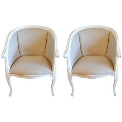 Pair of Louis XV Style Painted Bergere Chairs