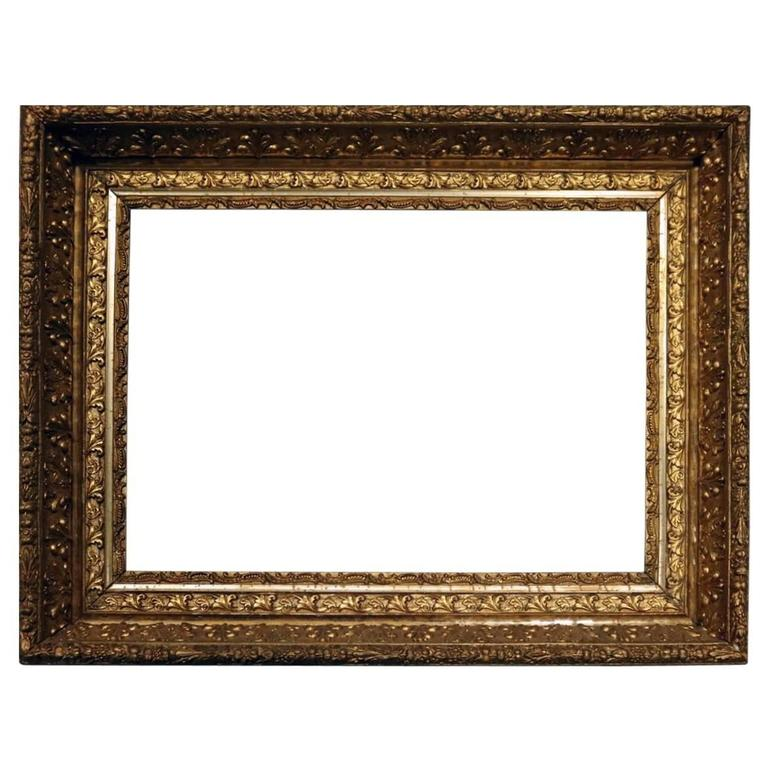 Antique Ornate First Finish Gold Gilt Gesso on Wood Frame, Late 19th ...