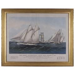 Currier & Ives Hand-Colored Framed Folio Lithograph Yacht Race, 1870