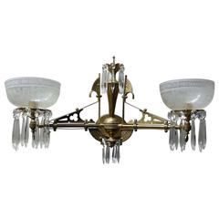 Antique Eastlake Aesthetic Dual Arm Brass Sconce w/Crystals & Etched Glass Shade