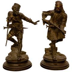 Antique Orientalist Pair of Bronze French Bashi Bazouk
