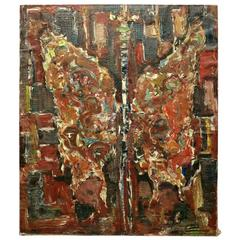 """Vintage Polish Abstract O/C Painting """"Motyl"""" 'Butterfly' by Jan Grabowski 1965"""