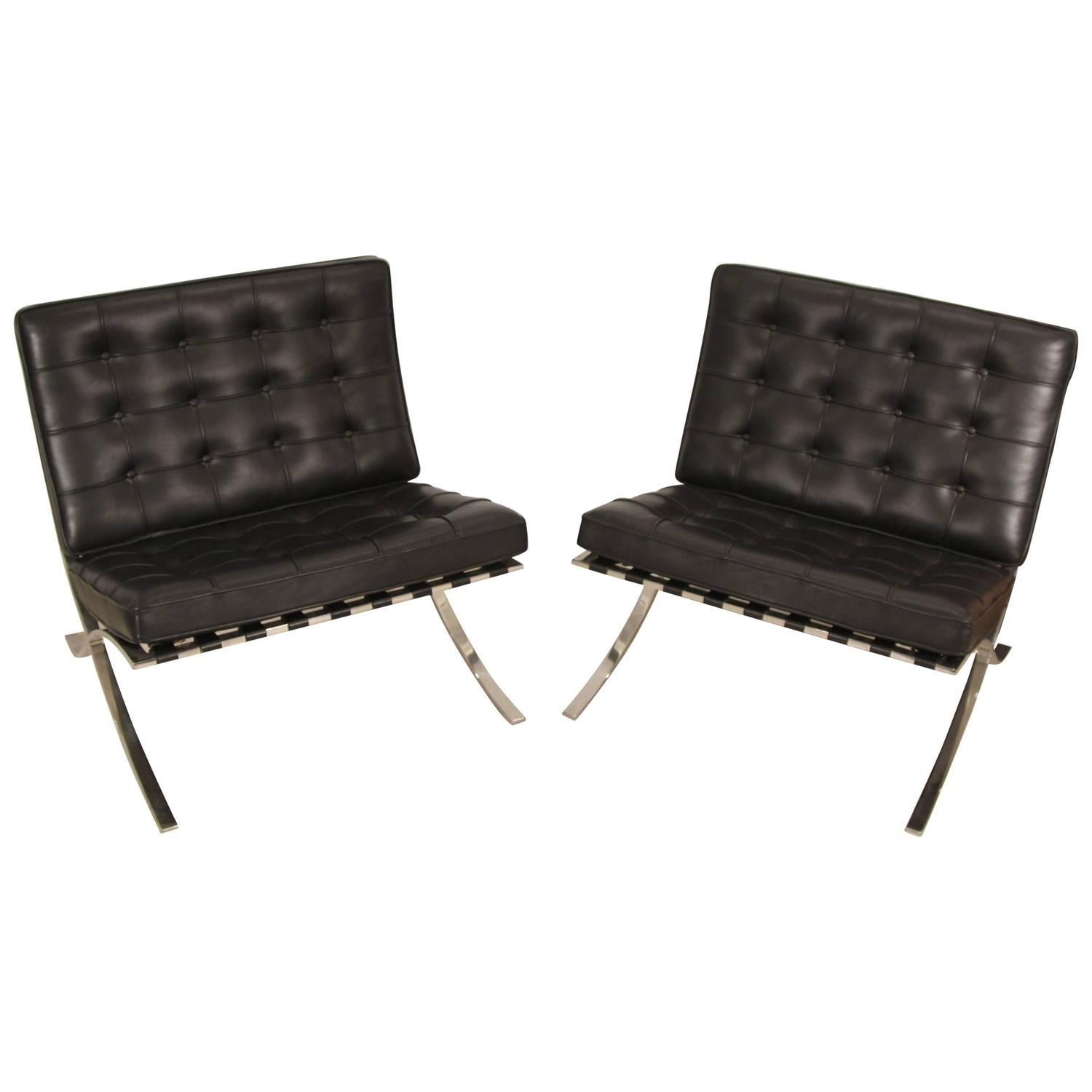 pair of mies van der rohe barcelona chairs for knoll for sale at 1stdibs. Black Bedroom Furniture Sets. Home Design Ideas