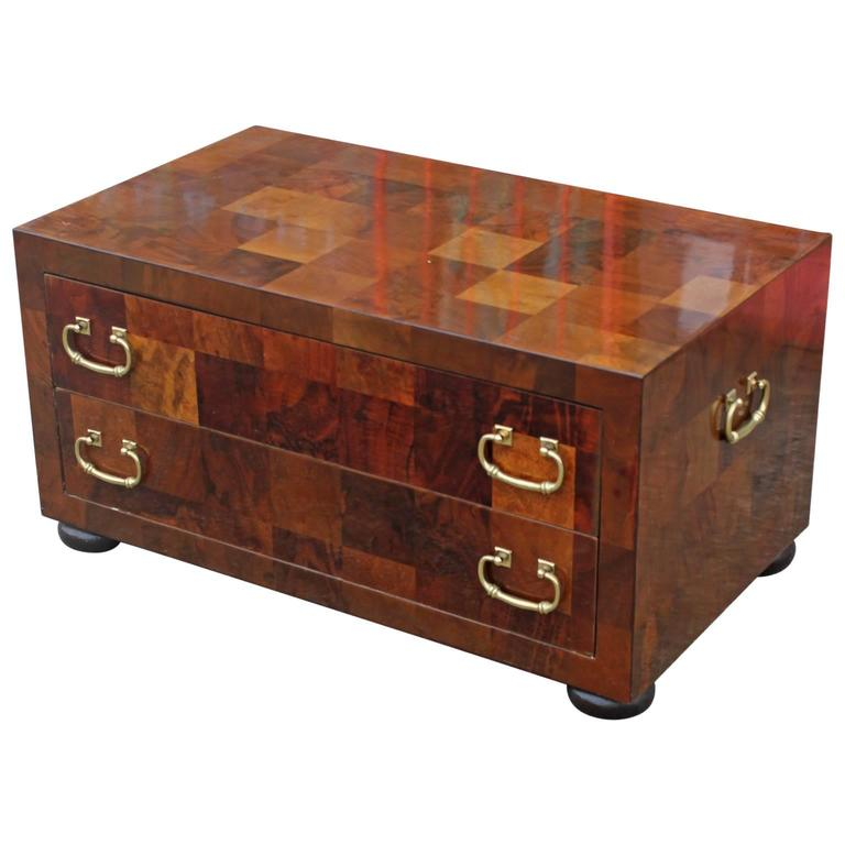 Low Chest Of Drawers ~ Modern checkered parquetry low chest with brass hardware