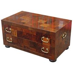 Modern Checkered Parquetry Low Chest with Brass Hardware