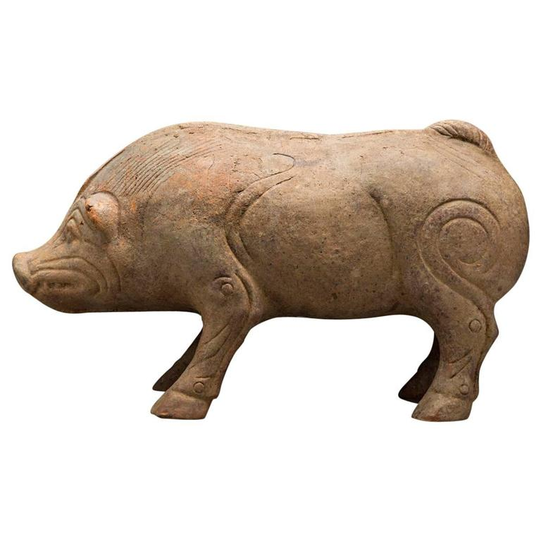 Eastern Han Terracotta Sculpture Of A Pig At 1stdibs