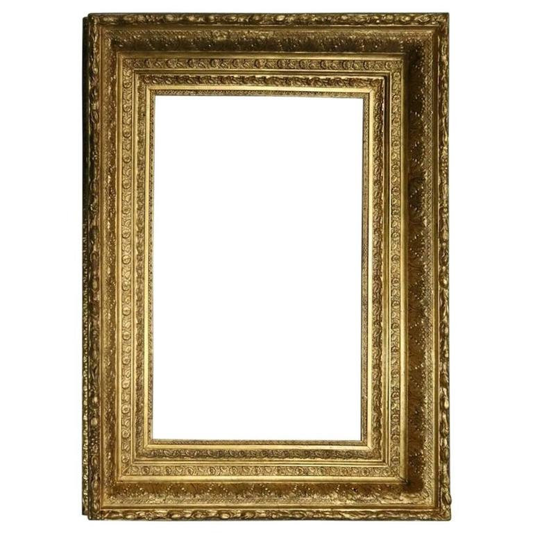 Gold Gilt Gesso On Wood Frame With Foliate Design Late 19th Century