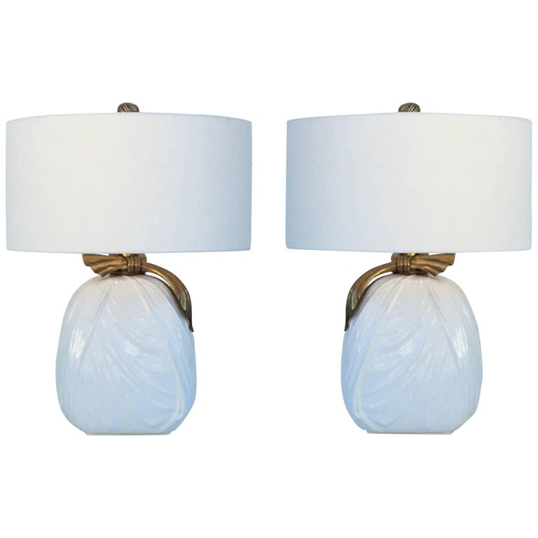 Pair of Ceramic and Brass Table Lamps by Chapman For Sale