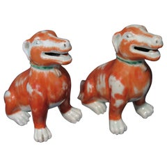 Pair of 18th Century Chinese Export Iron Red Glaze Porcelain Figure of Dogs