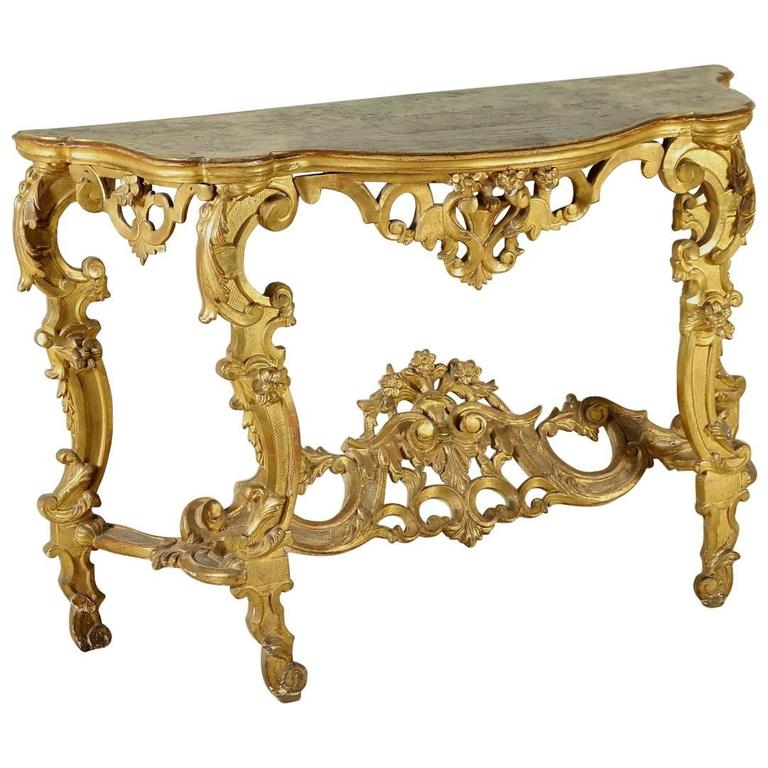 Carved gilded and lacquered 18th century baroque wall - Baroque console table ...
