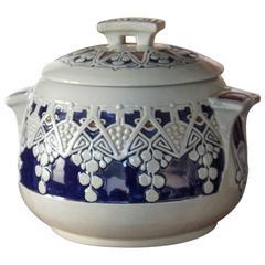 Stunning 20th Century Jugendstil Style Glazed Cologne Earthenware Punch Bowl
