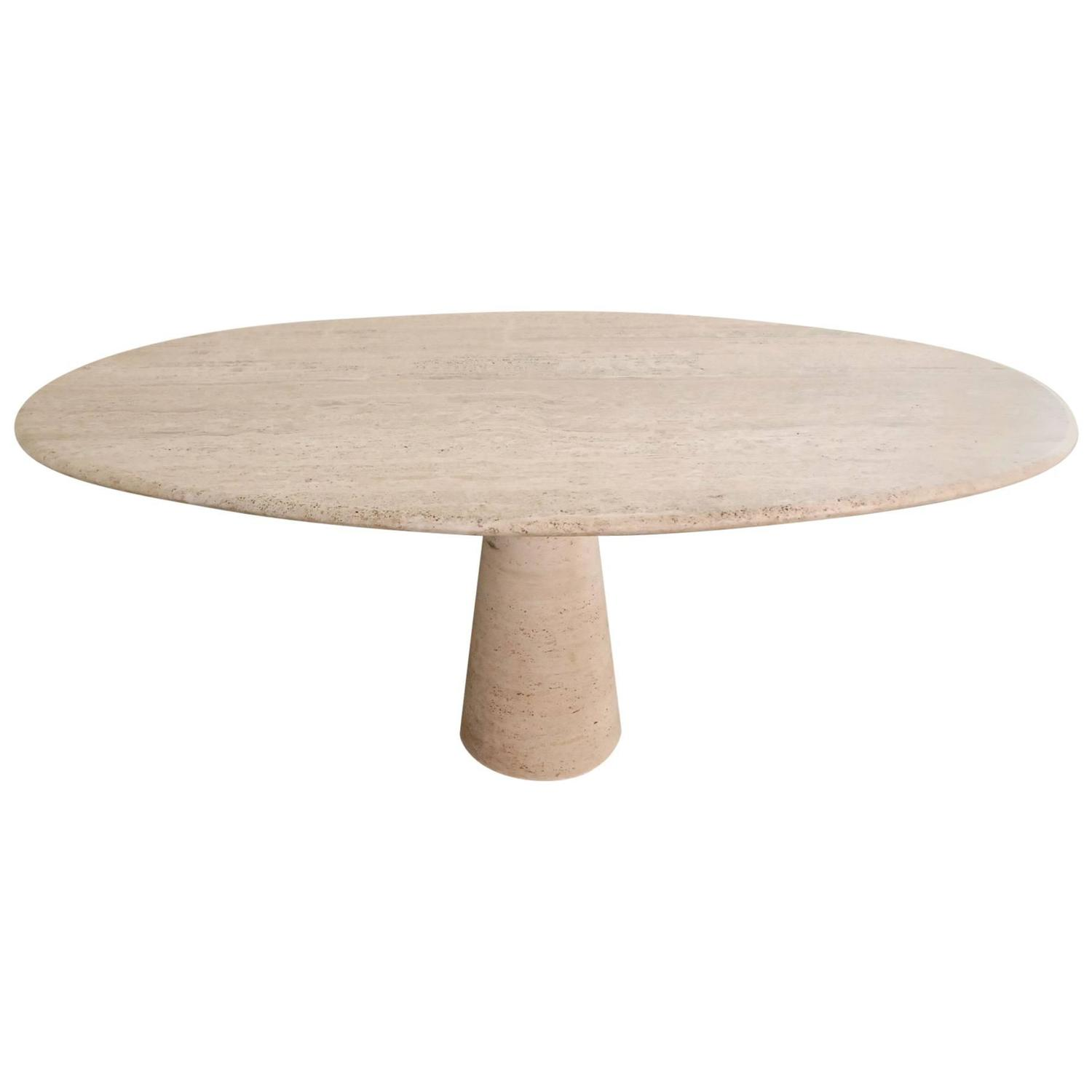 Table Oval Travertine Dining Table at 1stdibs