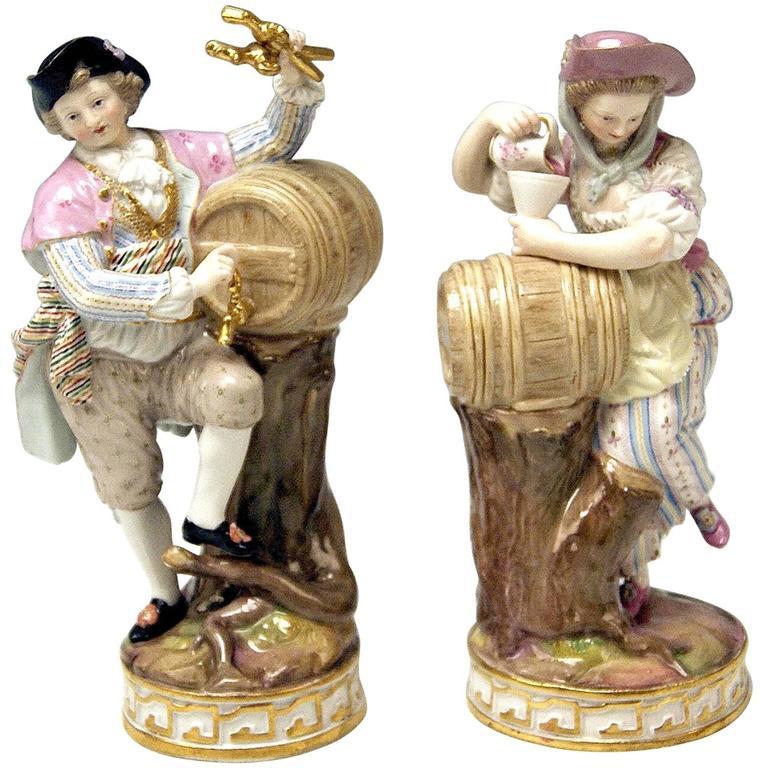 Meissen Acier Pair of Wine-Growers Male Female Model F 80 made circa 1870