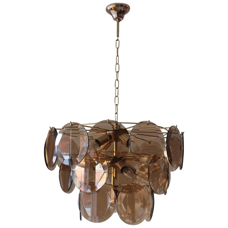 Vintage Smoked Glass Chandelier 1970 in the Style of Vistosi For Sale