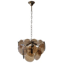 Vitage Smoked Glass Chandelier in the Style of Vistosi