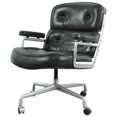 Vintage Midcentury Black Leather Time-Life Chair by Eames for Herman Miller