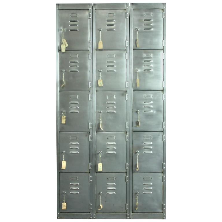 Vintage 15 Compartment Stripped And Polished School Locker For