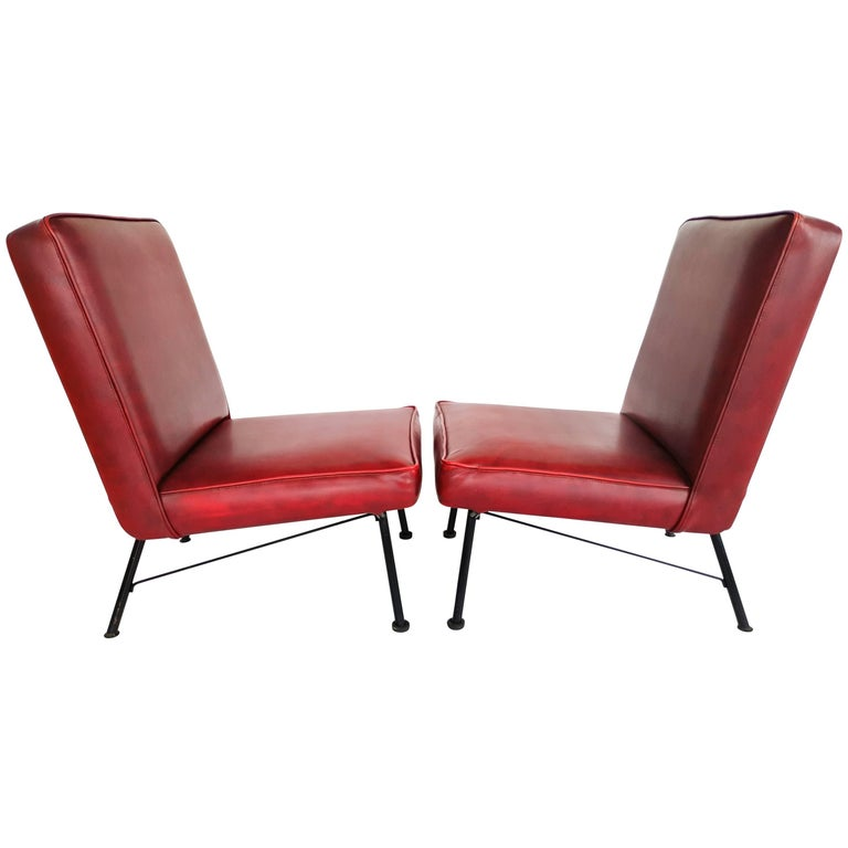 Pair of French Lounge Chairs, 1950s For Sale
