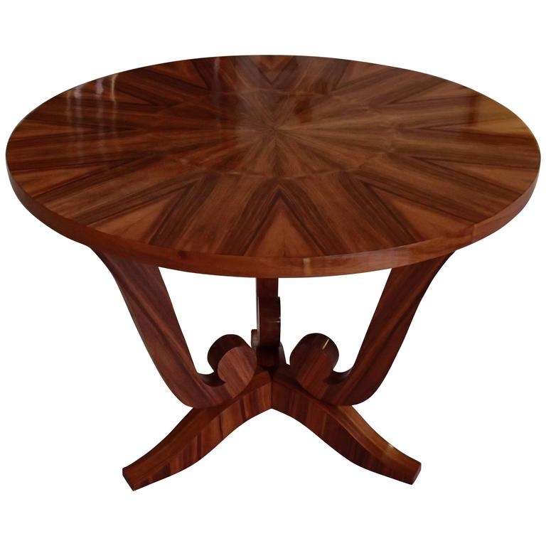 1930 Very Elegant Light Round Walnut Inlay 3 Leg Art Deco Coffee or Side Table