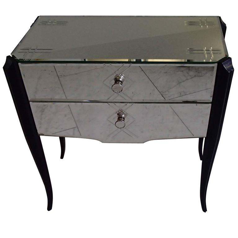 Art Deco Small Console Drawer Cabinet Engraved Mirror Black Curved Legs For  Sale
