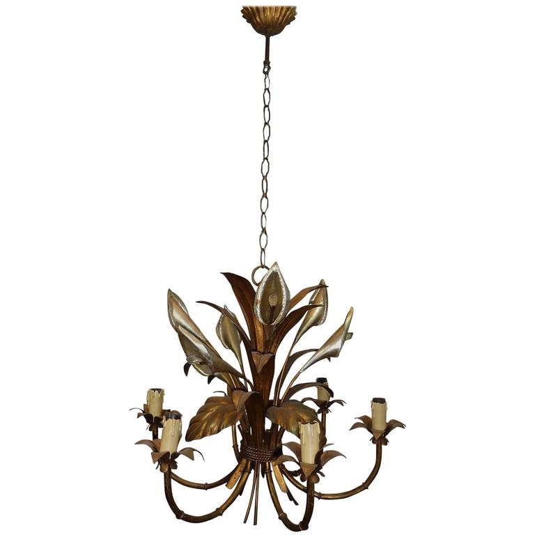 Italian Calla Lily Six Light Gilded Chandelier For Sale