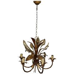 Italian Calla Lily Six-Light Gilded Chandelier
