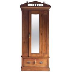 Antique Wardrobe Dresser Satin Walnut Edwardian Mirror Fronted, 1900