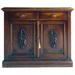 Antique Oak Sideboard Hall Bathroom Cupboard Victorian, 19th Century