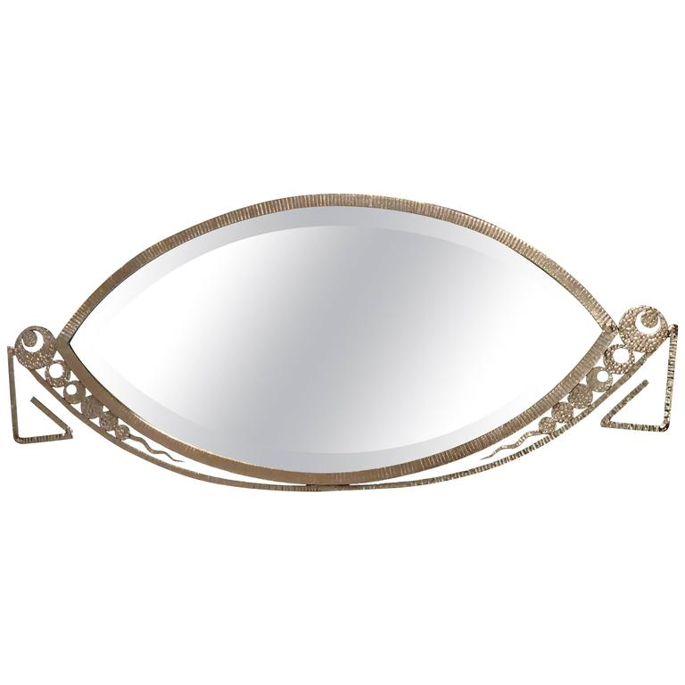 Art deco forged iron silver oval decorative mirror for for Silver framed mirrors on sale