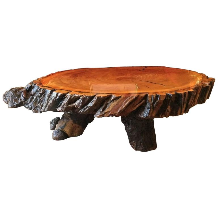 Oak Tree Root Coffee Table: Coffee Table English Oak Rustic Reclaimed Lacquered Tree